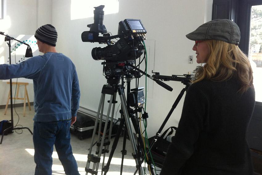 Studio shoot, art gallery, corporate training video
